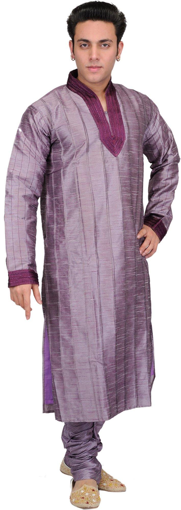 Exotic India Lavender-Gray Wedding Kurta Pajama with Pa Size 40 by Exotic India