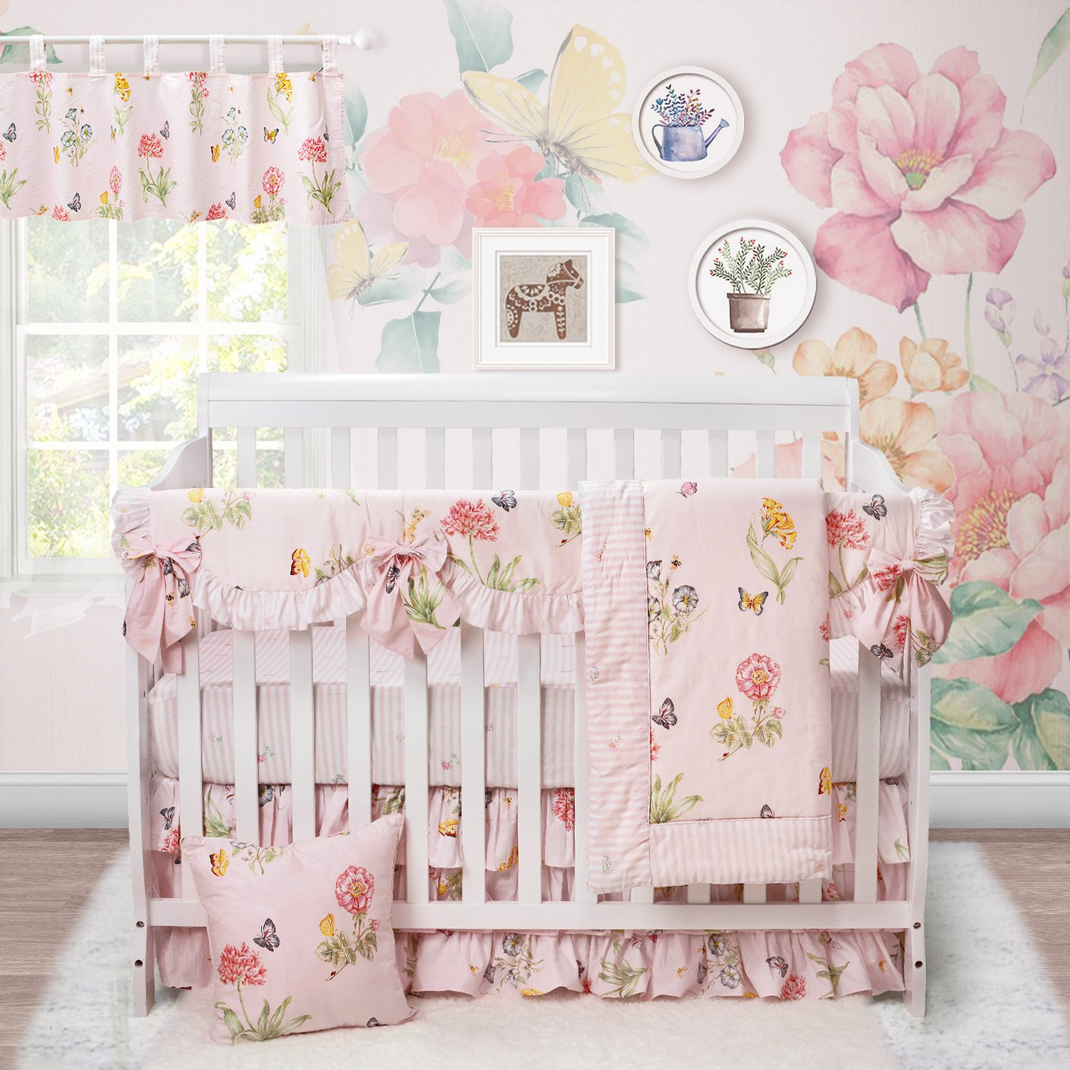 Brandream Butterfly Bedding Girl Crib Bedding Nursery Bedding Shabby Floral Baby bedding Set with Crib Rail Cover,Crib Skirt and 2pcs Crib Sheet,Pink,7pcs
