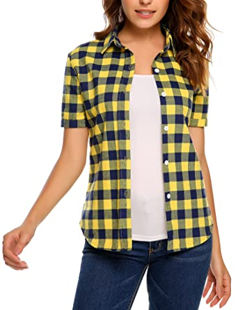 2be021e73 Meaneor Women Summer Short Sleeve Boyfriend Plaid Button Down Shirts Yellow  4XL