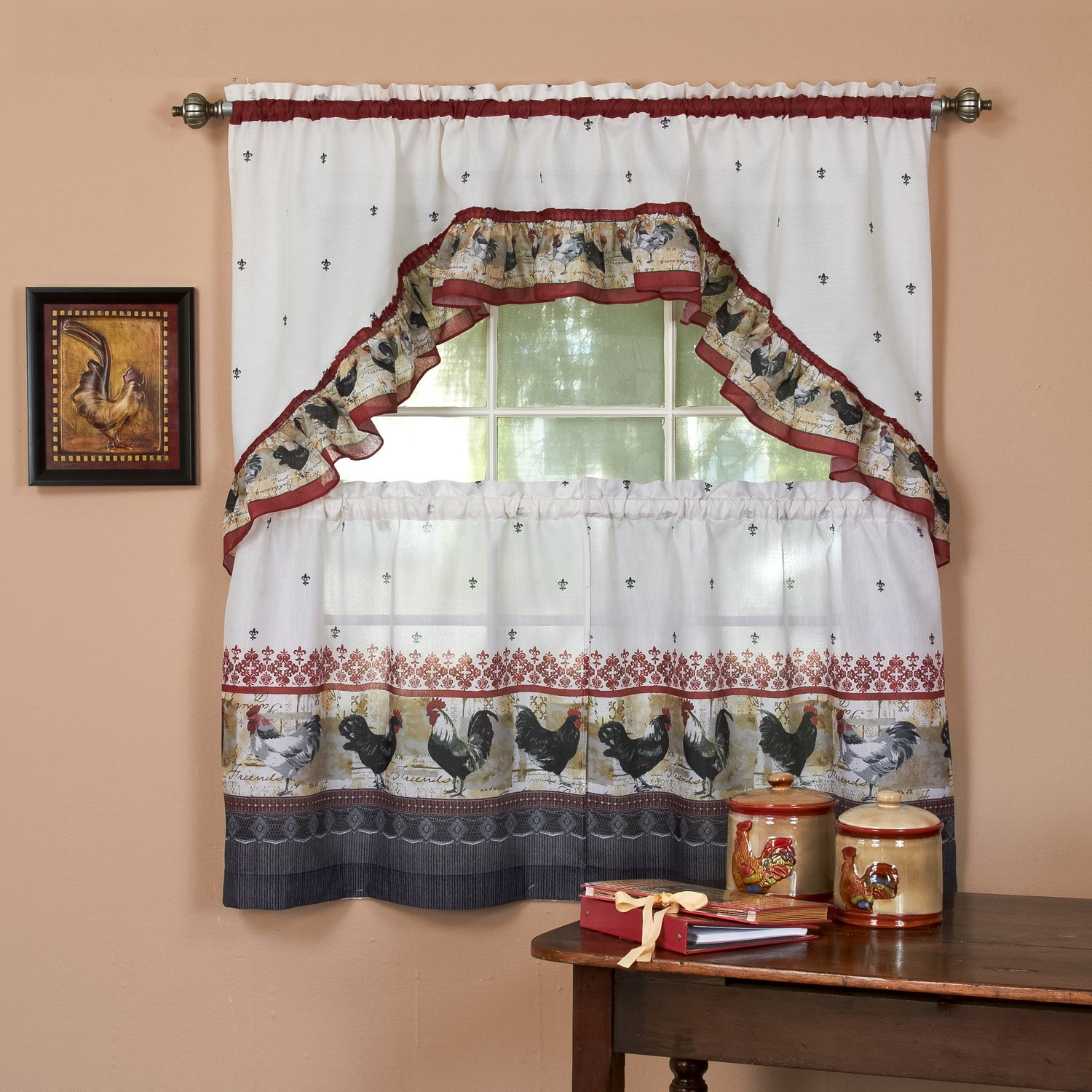"Sweet Home Collection 3 Piece Kitchen Curtain Classic Design Pair and Swag, 36"" Tier Set, Rooster"
