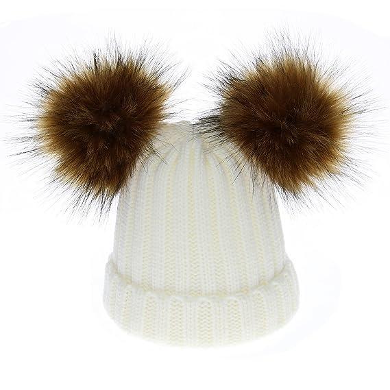 generics Knit Hat Kids Winter Warm Baby Girls Boys 2 Fur Ball Children  White Cute Caps e1852e1aef3
