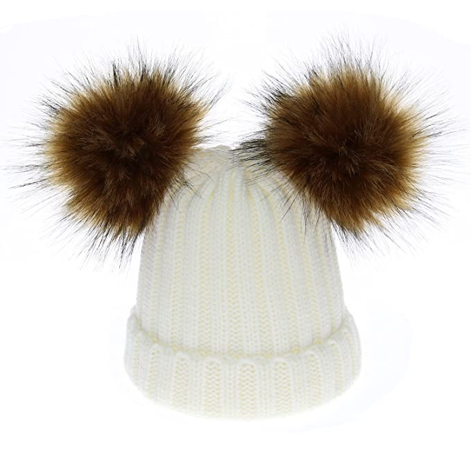 4032697d064 generics Knit Hat Kids Winter Warm Baby Girls Boys 2 Fur Ball Children  White Cute Caps  Amazon.ca  Clothing   Accessories