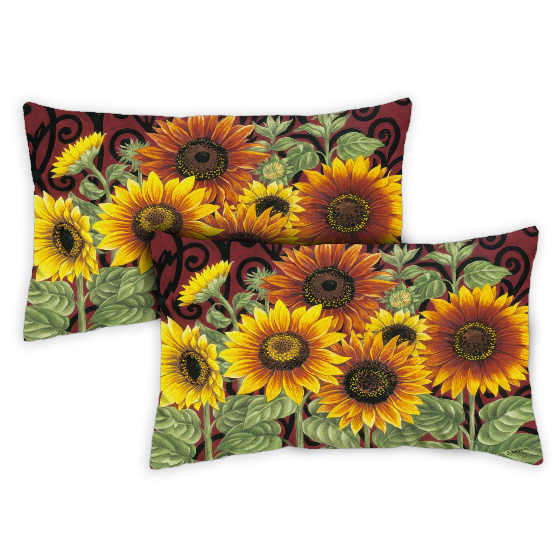 Toland Home Garden 731215 Sunflower Medley 2-Pack 12x 19 Inch, Indoor/Outdoor Pillow with Insert