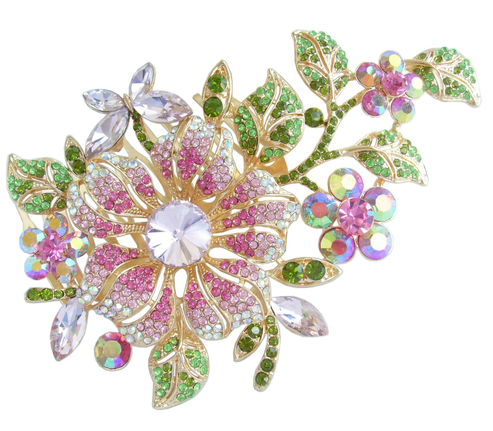 Wedding Hair Accessories-Sindary Jewelry Sindary Wedding Jewelry 4.72'' Pretty Bridal Orchid Flower Hair Comb Rhinestone Crystal HZ4712 (Gold-Tone Pink)