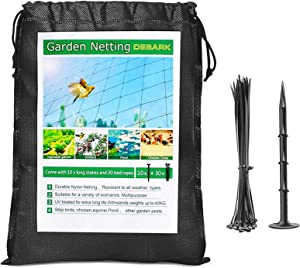 "Bird Net 25' x 50' Garden Netting with 1"" Square Mesh Protect Fruit Tree, Plant & Vegetables from Poultry, Deer and Pests, 30 Zip Ties Heavy Duty Bird Netting for Garden, Farm, Orchard, etc. (Black)"