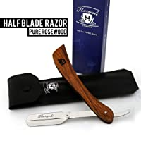 Pure Rose Wood Shaving Razor, Cut Throat Razors(NO BLADES INCLUDED) + Leather Pouch
