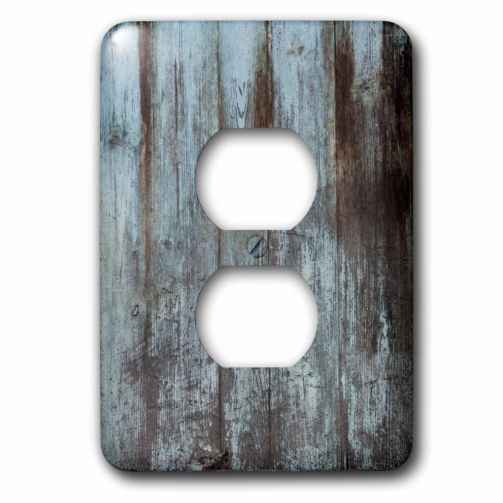 3dRose lsp_239937_6 Blue Distressed Country Wood Effect Plug Outlet Cover