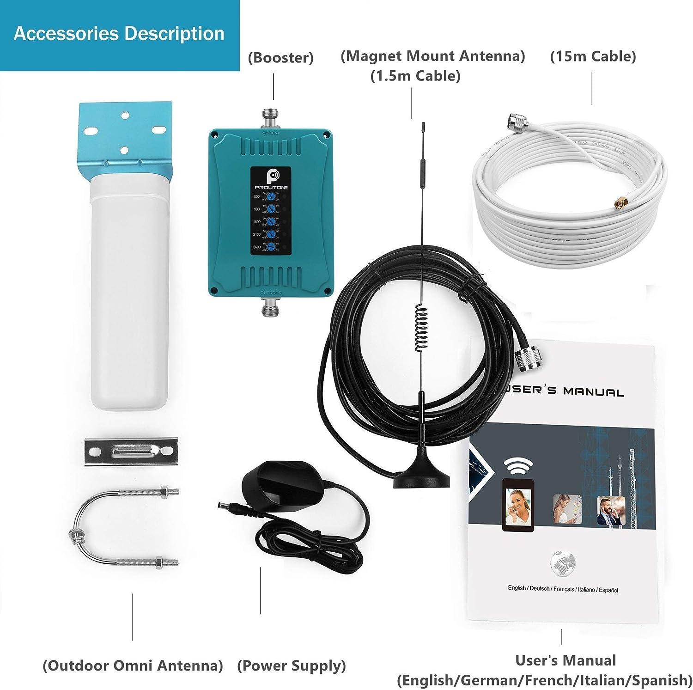 Proutone Amplificador de Señal 4G gsm Repetidor Vodafone Orange Movistar Yoigo Impulse los Datos y la Voz Amplificador de Cobertura Móvil Band ...