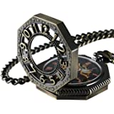 Carrie Hughes Steampunk Gold Tone Octagon Skeleton Mechanical Pocket Watch with Chain CHPW02