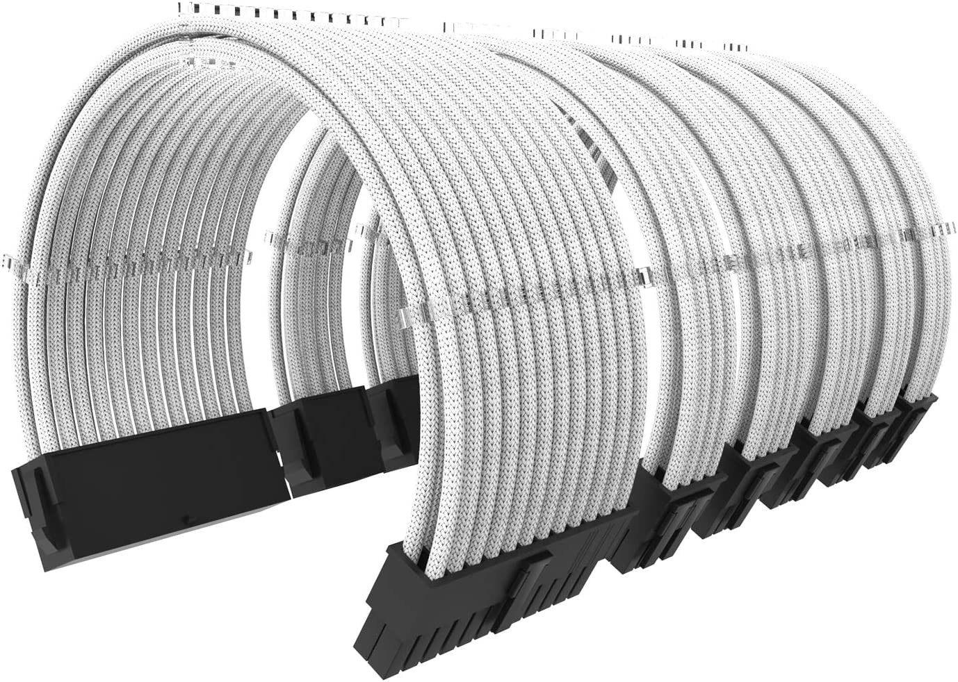 PSU Extension Cable Kit 11 4/5 inch Length with Cable Combs Extension Power Supply Cable Kit 24-pin 8-pin 6-pin for ATX Power Supply White