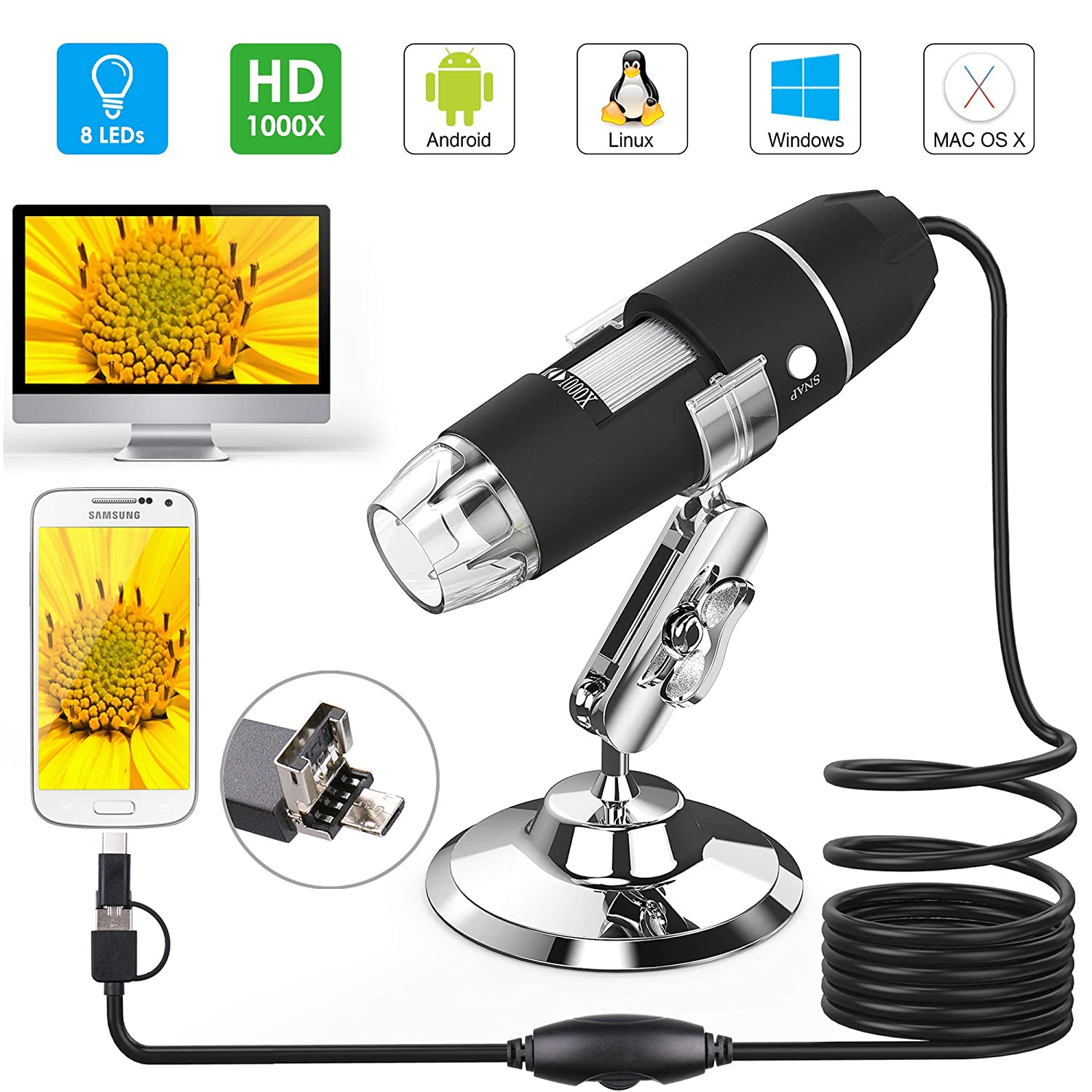 ... Splaks 1000x de Alta Potencia USB Microscopio Digital 3 en 1 Microscopio Digital con 8 Luces LED y Soporte para Microscopio Compatible con Windows, ...