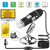 Microscopio USB, Splaks 1000x de Alta Potencia USB Microscopio Digital 3 en 1 Microscopio Digital con 8 Luces LED y Soporte para Microscopio Compatible con Windows, Android y Mac
