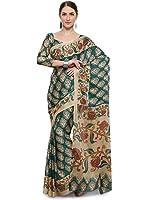 Vaamsi Kalamkari Chiffon Saree (Kalam1001A_Turquoise_6.3 m length)