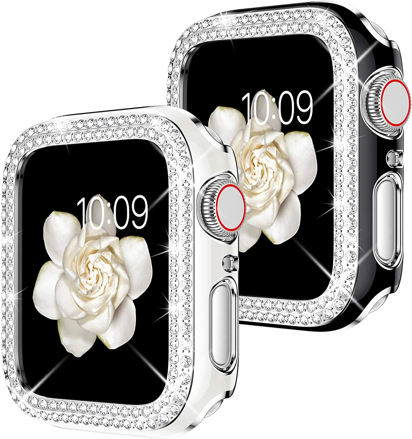 Goton Watch Cover Compatible for Apple Watch Series Case iWatch Face Cover, Women Bling Crystal Diamond Watch Bumper Protector Shockproof PC Protective Frame (Black+White, 38mm)
