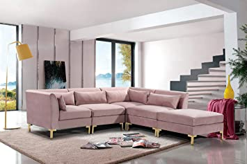 Iconic Home FSA9261-AN Girardi Modular Chaise Sectional Sofa Velvet  Upholstered Solid Gold Tone Metal Y-Leg with 6 Throw Pillows Modern  Contemporary, ...