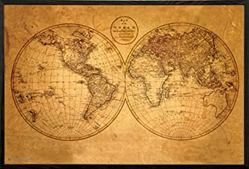 Amazon old world map poster 36x24 in a walnut wood frame old world map poster 36x24 in a walnut wood frame gumiabroncs Image collections