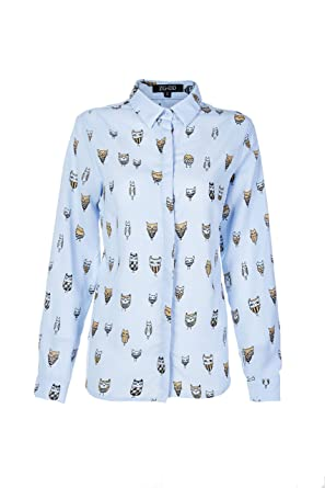 4b6923ab60ec ZG DD Women s Animal Print Cute Rabbits Pattern Longline Button Down Casual  Tunic Shirt Blouse (Small