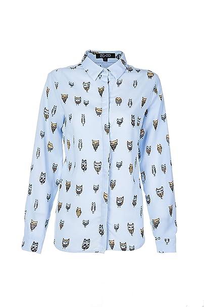 7a0e565db1 ZG DD Women s Animal Print Cute Rabbits Pattern Longline Button Down Casual  Tunic Shirt Blouse (Small