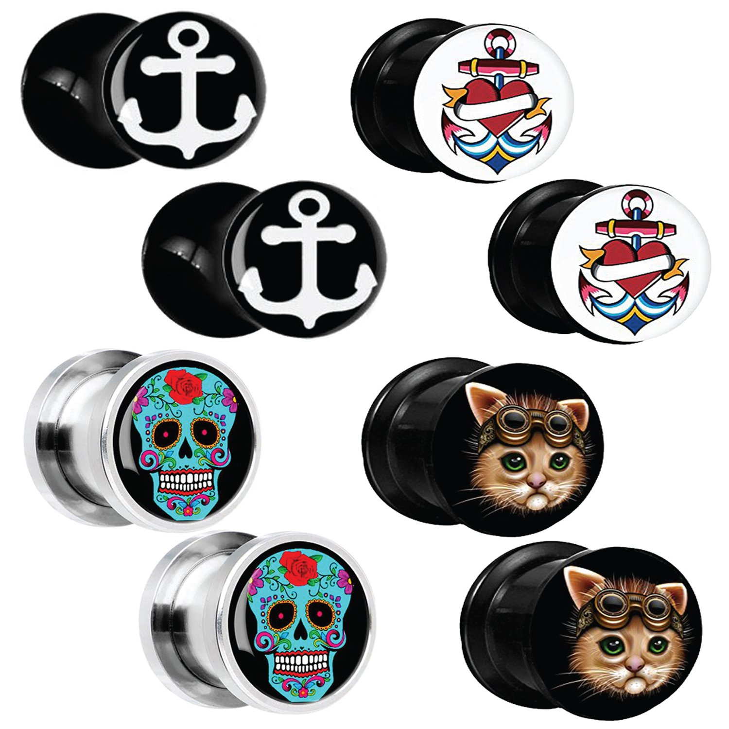 BodyJ4You 8PCS Gauge Plugs Anchor Steampunk Cat Skull Stainless Steel Double Flare Ear Expander 6G-12mm PL6333-00G