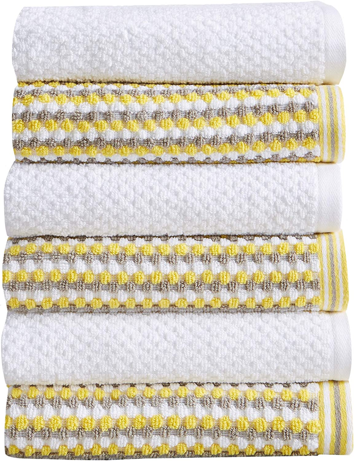 6-Piece Hand Towel Set. 100% Cotton Multi-Striped Bathroom Towels. Quick Dry and Absorbent Towels. Set Includes 6 Hand Towels. Milos Collection (6 Pack, Yellow / Gray)