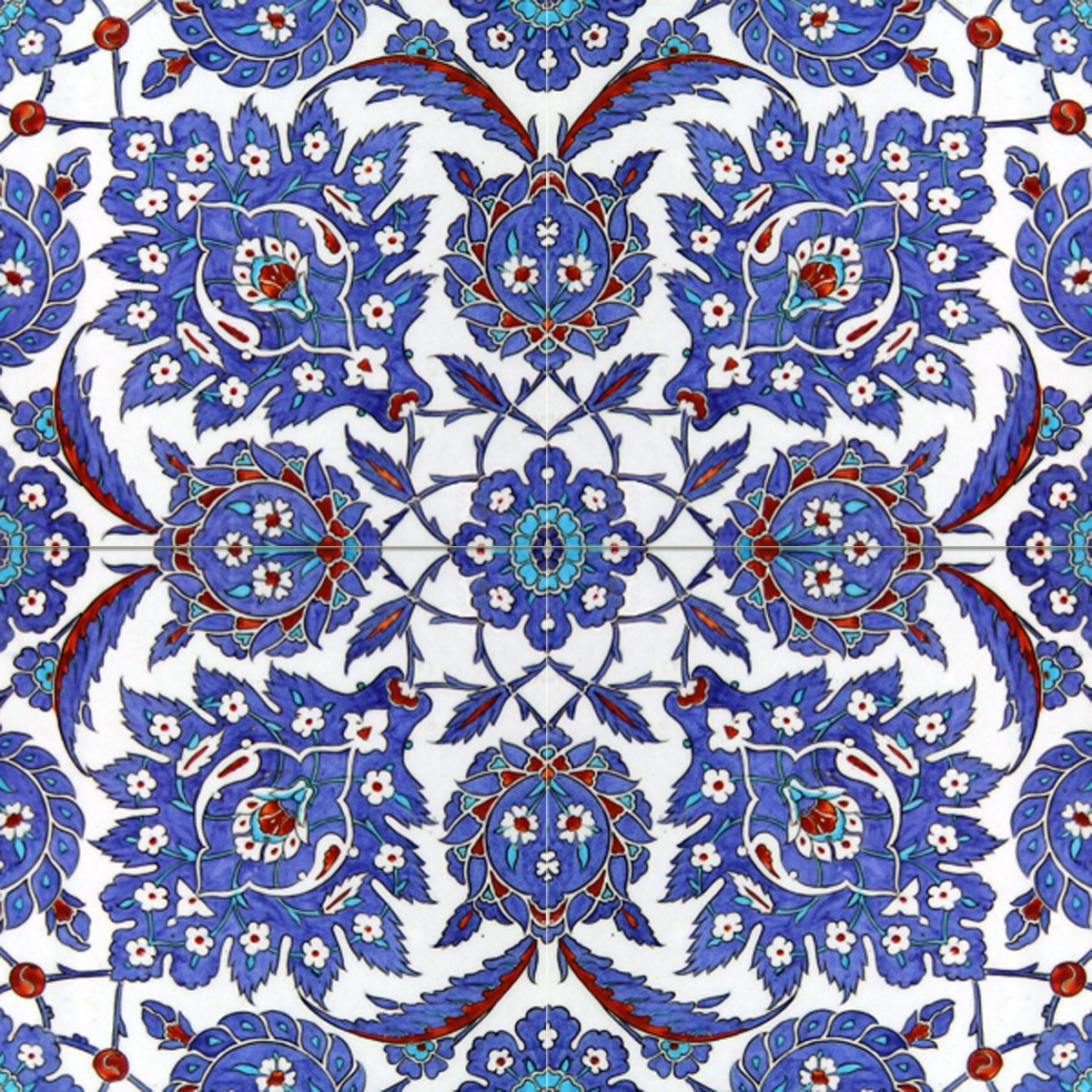 Turkish pattern 16th century design tile mural kitchen for Ceramic mural designs