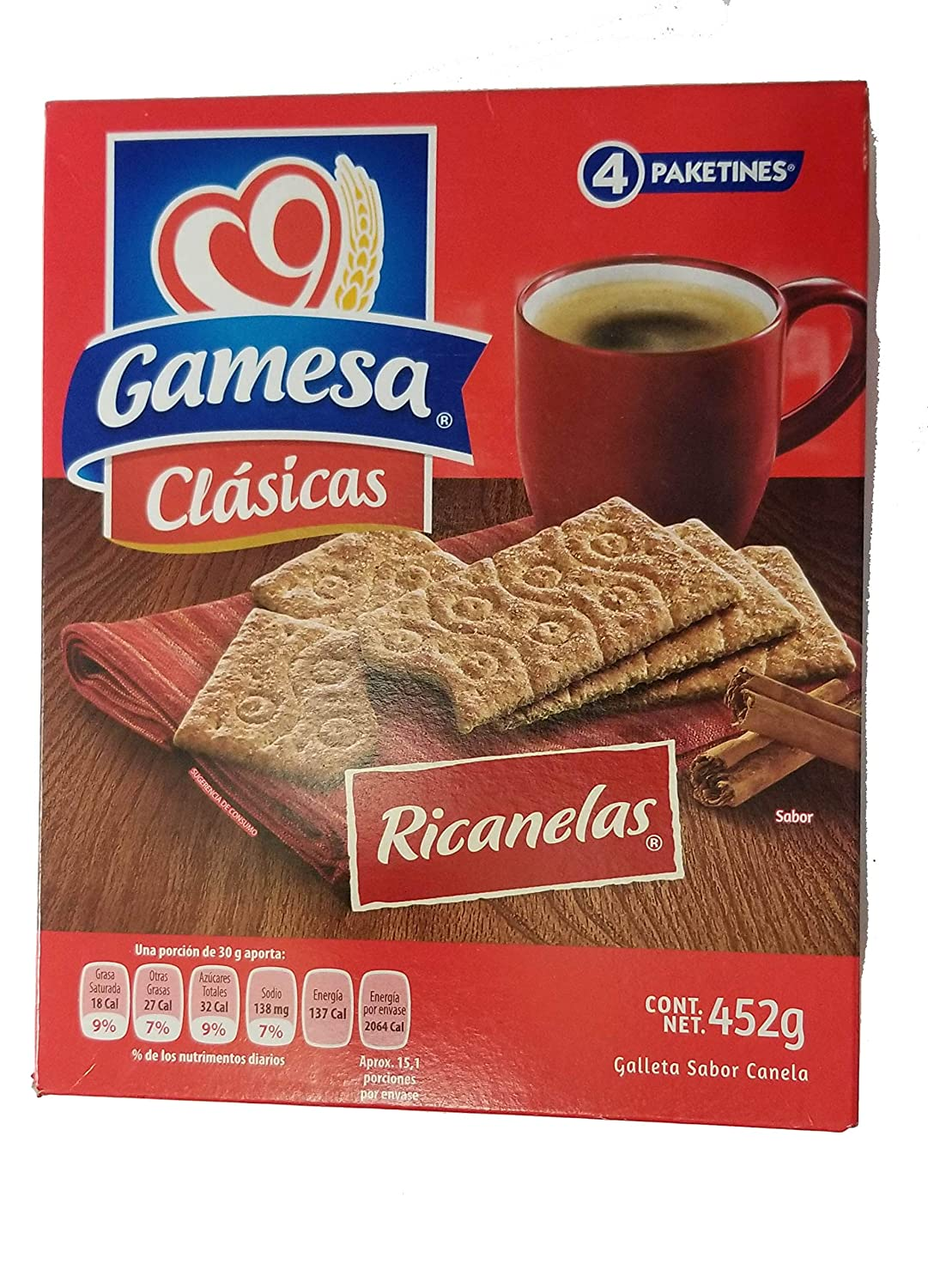 Gamesa Ricanelas. Irresistible Mexican Cinnamon Cookies, 1 box (4 individual packages). Great for lunch....