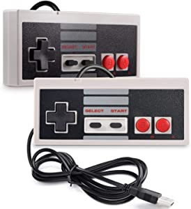2 Pack NES Classic Controller, suily PC USB Controller Retro Gamepad Joystick for Windows PC Mac Linux RetroPie NES Emulators