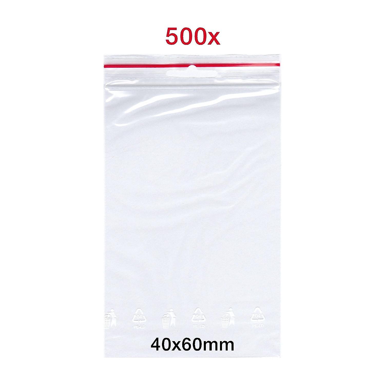 500 X Cierre de impresió n bolsas, 40 x 60 mm, bolsa de Zip, FolderSys Bolsa | bolsas de cierre rá pido | Zip Cierre Bolsa | Bolsa | fabricado en Alemania | de Smart packtm 40x 60mm Germany