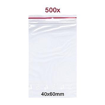 500 X Cierre de impresión bolsas, 40 x 60 mm, bolsa de Zip ...