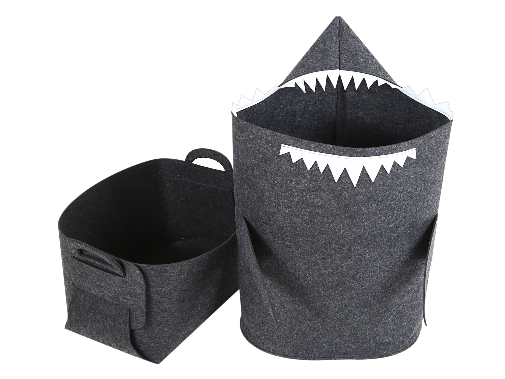 ARTIT Kids' Laundry Hamper Basket Storage & Bin Bag Tote with Handles - Shark & Box Set Made of Premium Quality Felt, Non-Woven, Eco-Friendly, Collapsible, Foldable & Multi-Functional - Dark Gray