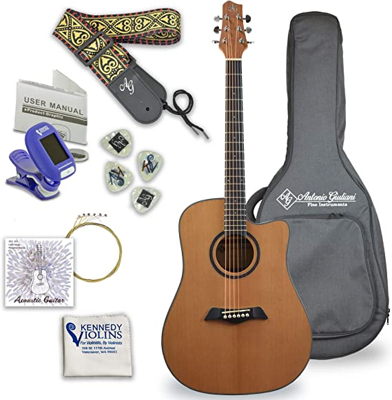 Antonio Giuliani Acoustic Mahogany Guitar Bundle (DN-1) - Dreadnought Guitar with Case