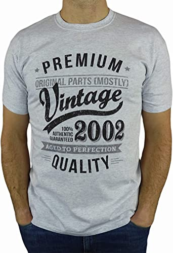 My Generation Gifts Vintage Year - Aged to Perfection - 18 Cumpleaños Años - Regalo de Cumpleaños Camiseta para Hombre - Cuero Gris L: Amazon.es: Ropa y accesorios