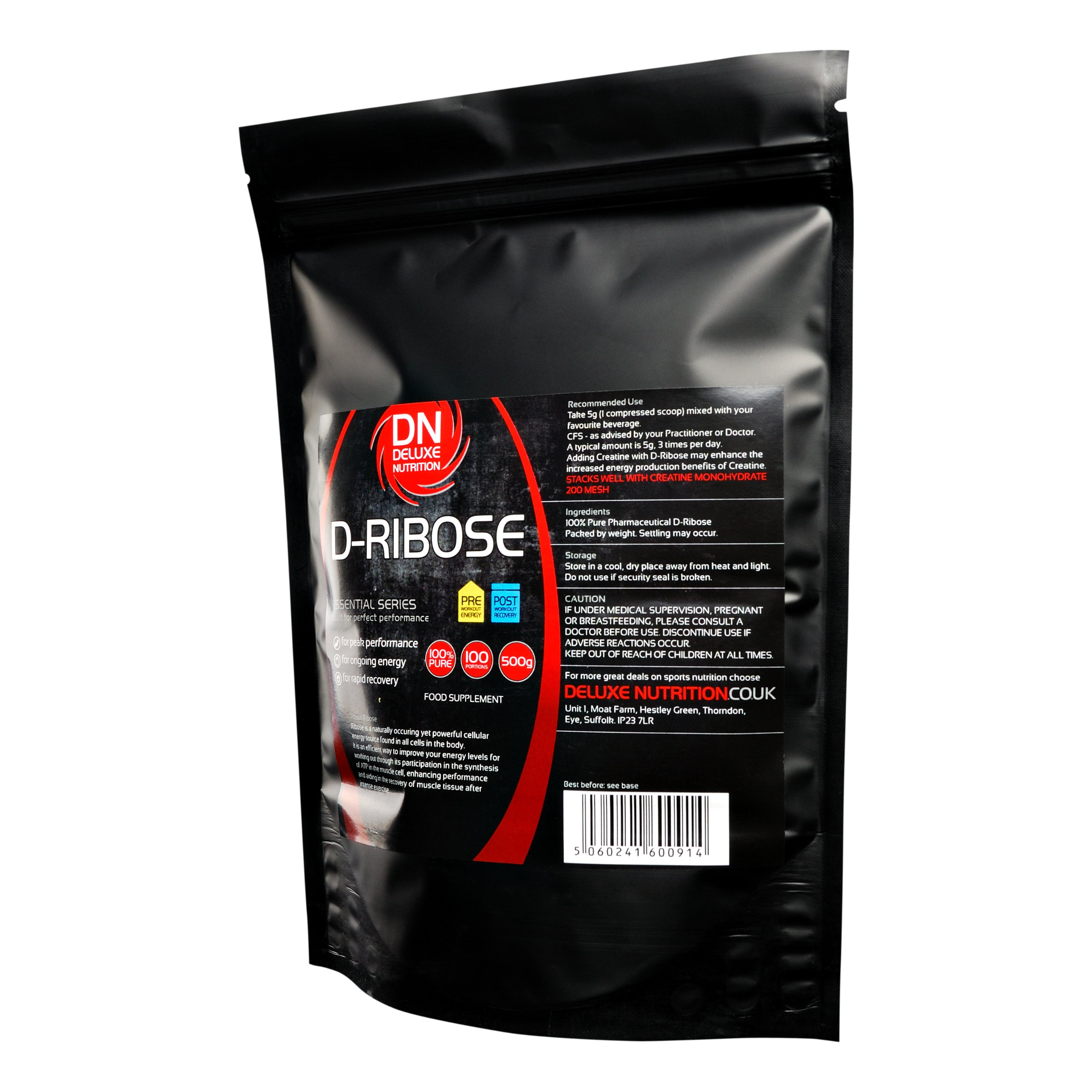 Deluxe Nutrition D-Ribose 1kg Powder Plus 250g FREE Worth Over ?15.00 (Total weight 1.250kg)