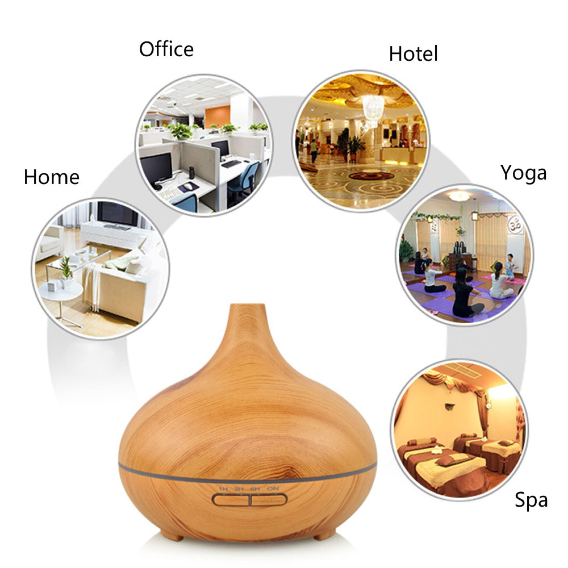 300ml Cool Mist Ultrasonic Humidifier, Aroma Essential Oil Diffuser, Waterless Auto Off, For Office Home Bedroom Living Room Study Yoga Spa (Wood Grain) by TuChang (Image #2)