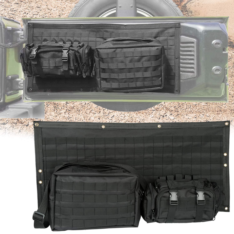 Yoursme Tailgate Bag Case Cover Storage Pockets Tool Organizer Detachable for Jeep Wrangler JK JKU 2007 2008 2009 2010 2011 2012 2013 2014 2015 2016 2017 2018