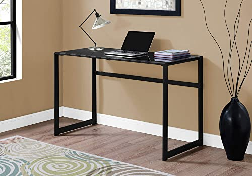 Monarch Specialties Study Laptop Table for Home Office-Tempered Glass Top Computer Desk-Metal Legs, 48 L, Black