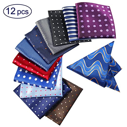 Jeatonge 12 Pack Mens Pocket Squares