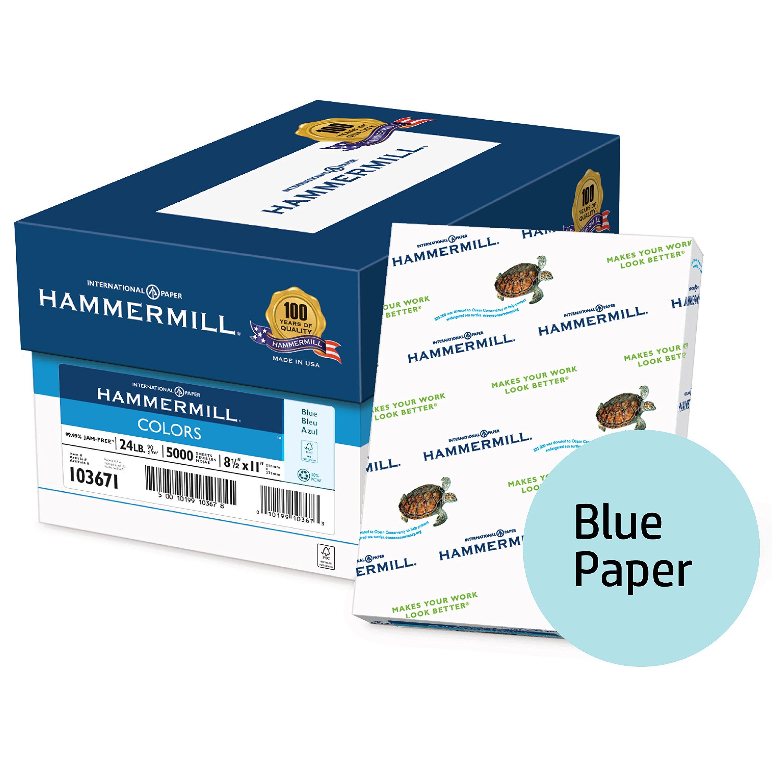 Hammermill Colored Paper, Blue Printer Paper, 24lb, 8.5x11 Paper, Letter Size, 5,000 sheets / 10 Ream Case, Pastel Paper, Colorful Paper (103671C)