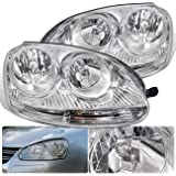 For VW Volkswagen Jetta GTI Golf Rabbit MK5 MKV VAG Euro Front Bumper Headlight Head Lamp Chrome Housing Clear Lens Clear Reflector Upgrade Assembly Pair Left Right