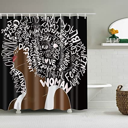 Amazon GoJeek Afro Black Girl Shower Curtain African American