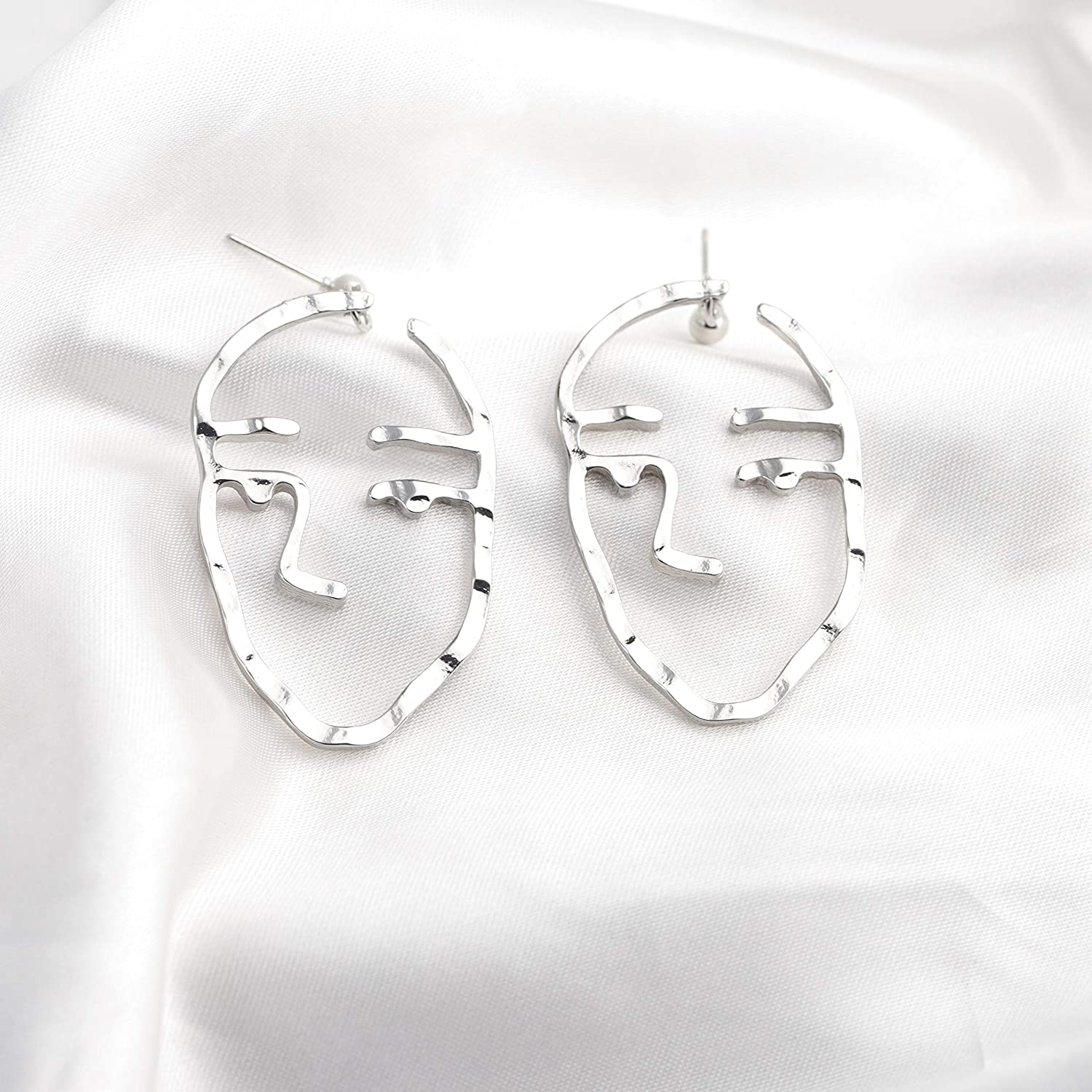 Silver FUSTYLE Face Earring Set Abstract Art Human Face Dangle Stud Earrings Silver Statement Earrings for Girls Teens Women