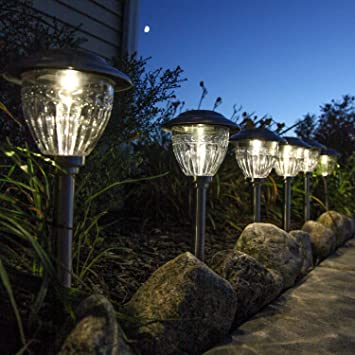 Solar Stainless Steel Metal Path Lights, Set Of 6, Warm White LEDs, 13u0026quot