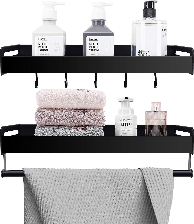 Amazon Com Shantton Floating Shelves Bathroom Shelf With Towel Bar Hooks Wall Mounted Bathroom Decor Shower Caddy Storage Organizer For Kitchen Over Toilet Set Of 2 Modern Design Kitchen Dining