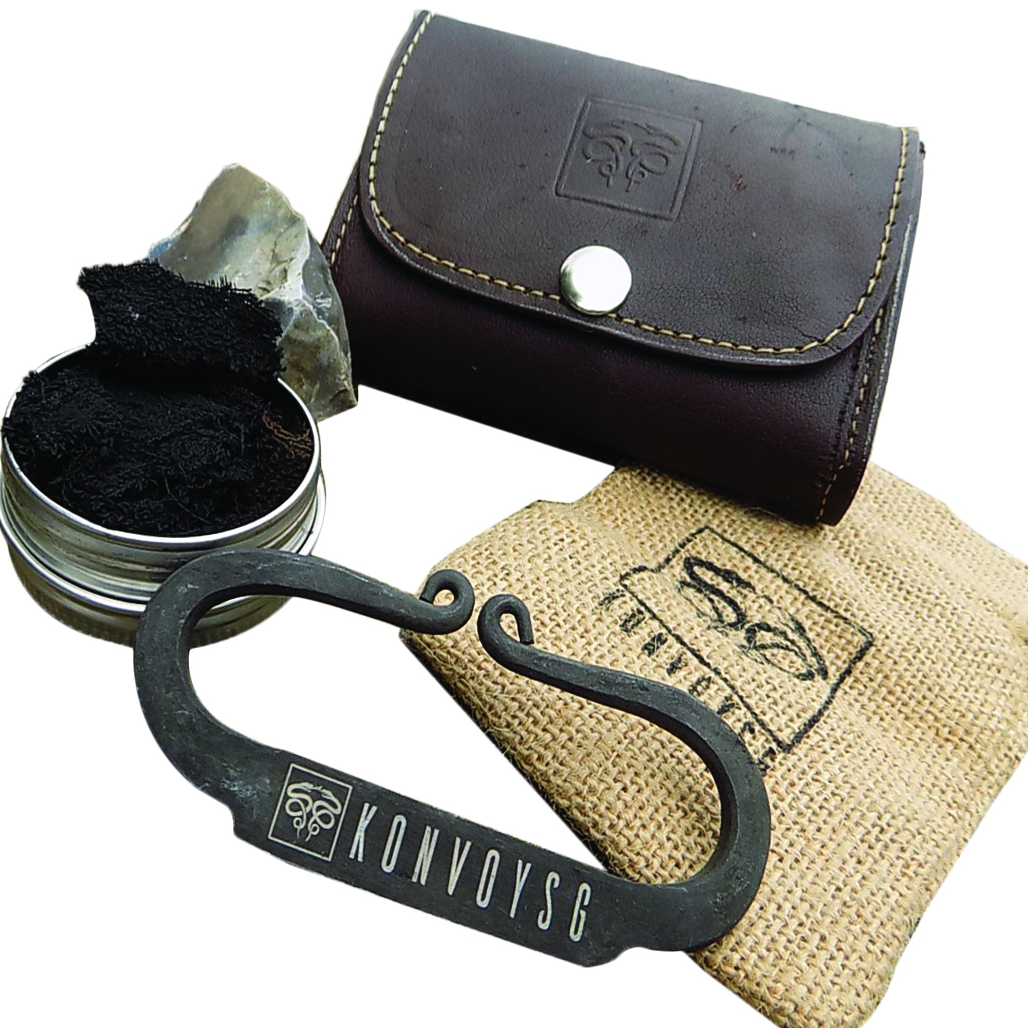 KonvoySG Carbon Steel Fire Striker, English Flint Stone & Char cloth Traditional Hand Forged Fire Starter, Leather Gift Kit With Emergency Tinder Jute Bag (COGNAC)