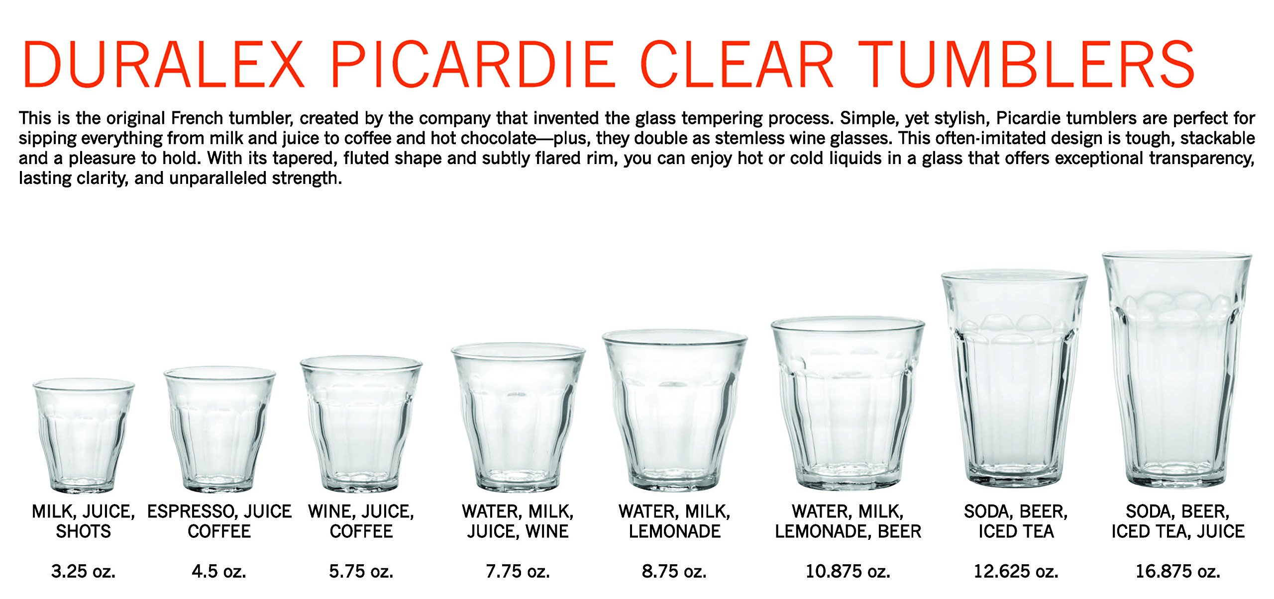 Duralex Made In France Picardie Clear Tumbler, Set of 6, 12.62 oz.
