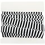 Striped Fold Over Elastic 5/8 inch - FOE Stripes - Headbands - Hair Ties - 5 Yard Bundle - White/Black