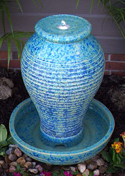 Merveilleux Outdoor LED Lighted Ceramic Fountain   Blue