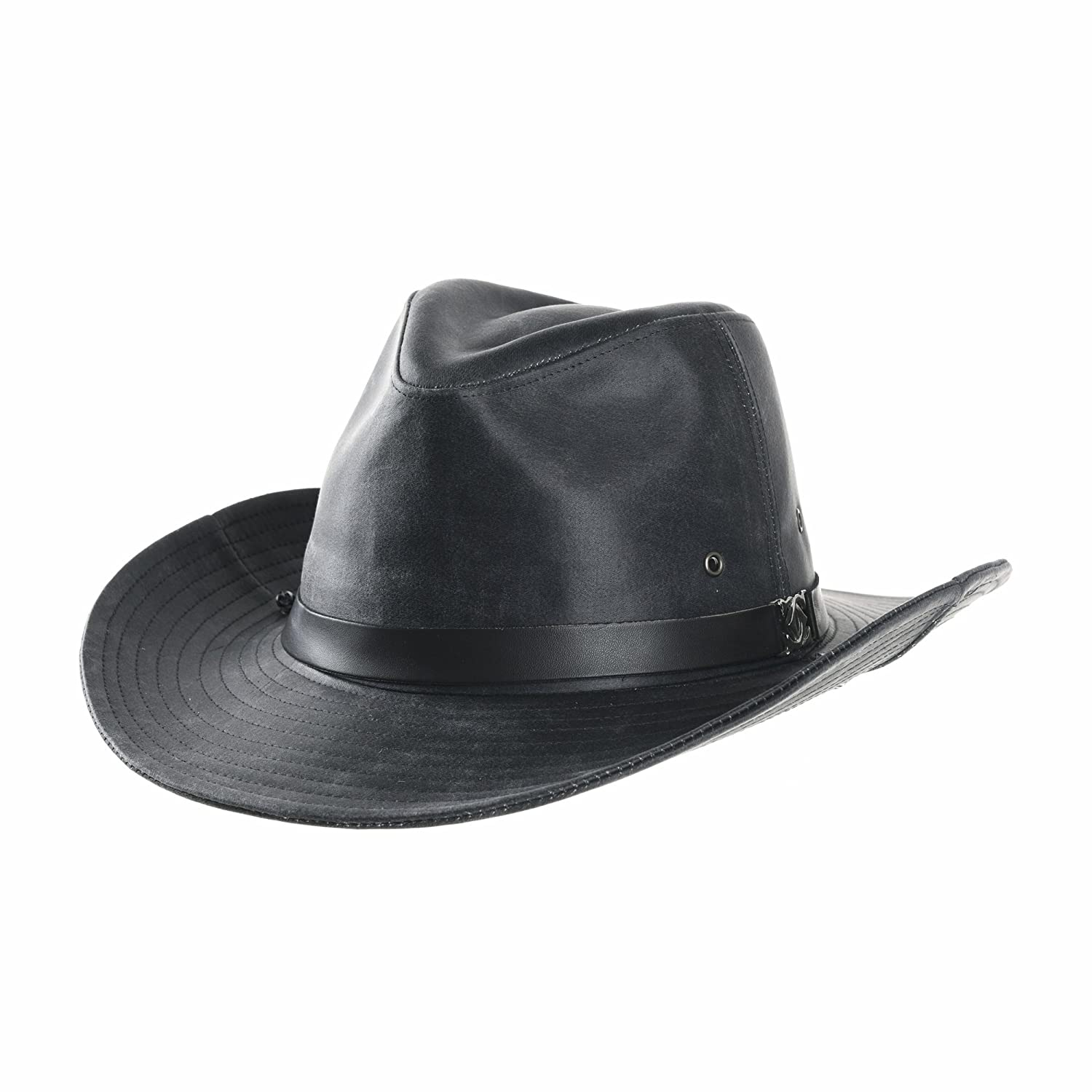 WITHMOONS Cowboy Cappello a Tesa Larga Faux Leather Indiana Jones Hat Outback Hat Fedora CD8859