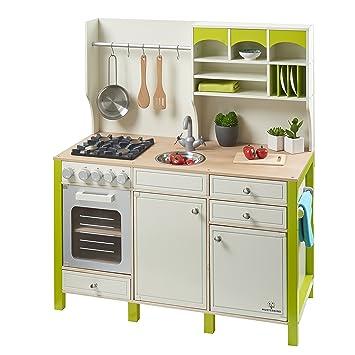 Kinderküche Spielküche SALVIA aus Holz MUSTERKIND® creme-grün ...