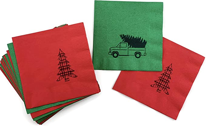 TWO Christmas Tree Red Truck Paper Napkins for Decoupage Holiday Winter Buffalo